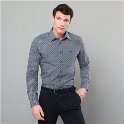 Magee 1866 Navy Dunaff Bird Print Tailored Fit Shirt