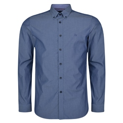 Magee 1866 Blue Rarooey Jacquard Button Down Tailored Fit Shirt