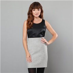 Magee 1866 Grey Carey Geometric Weave Skirt