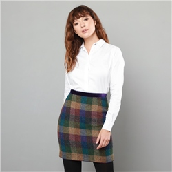Magee 1866 Purple Carey Salt & Pepper Donegal Tweed Skirt