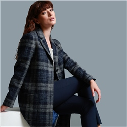 Magee 1866 Grey & Navy Emma Checked Patch Pocket Coat