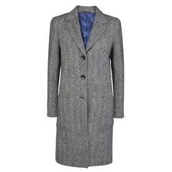 Magee 1866 Black & White Emma Cashmere Herringbone Coat