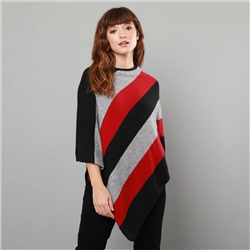 Magee 1866 Black, Orange & Grey Leah Poncho