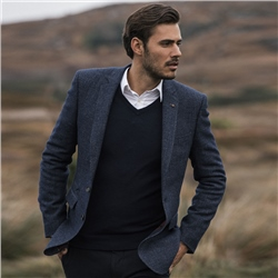 Magee 1866 Navy Lunniagh Lambswool V-Neck Jumper