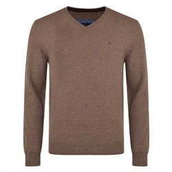 Magee 1866 Brown Lunniagh Lambswool V Neck Jumper
