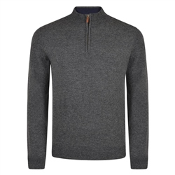 Magee 1866 Charcoal Lunniagh Lambswool 1/4 Zip Jumper