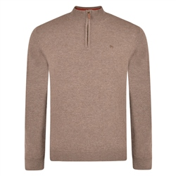 Magee 1866 Brown Lunniagh Lambswool 1/4 Zip Jumper
