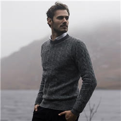Magee 1866 Grey Mullans Lambswool Cable Crew Neck Jumper