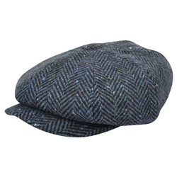 Magee 1866 Blue Herringbone Donegal Tweed Baker Cap