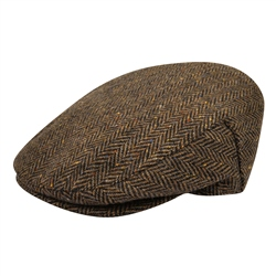 a1db01c5bf1 Brown   Black Herringbone Donegal Tweed Flat Cap