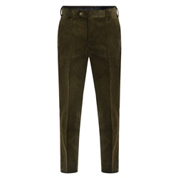 Magee 1866 Olive Plain Front Cord Classic Fit Trousers