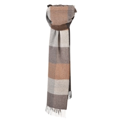 Magee 1866 Luxury Oat & Brown Patchwork Scarf