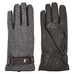 Magee 1866 Grey Farnagh Herringbone Donegal Tweed Men's Gloves