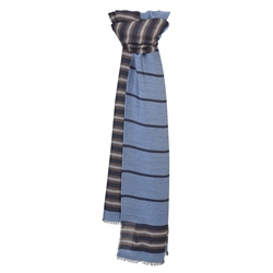 Magee 1866 Blue, Brown & Grey Striped Scarf