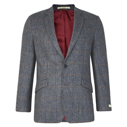 Magee 1866 Grey Checked Herringbone Tweed Classic Fit Jacket