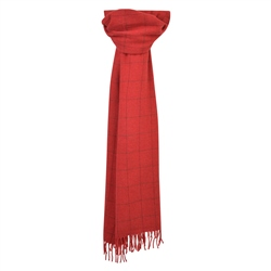 Magee 1866 Red Deco Windowpane Wide Scarf