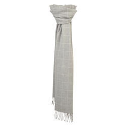 Magee 1866 White & Grey Deco Windowpane Wide Scarf