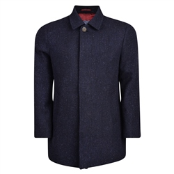 Navy Edergole Salt & Pepper Donegal Tweed Coat