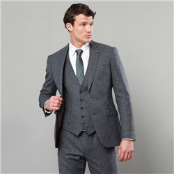 Magee 1866 Grey & Navy Donegal Tweed 3-Piece Tailored Fit Suit