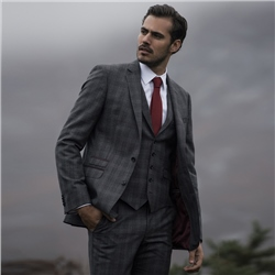 Magee 1866 Charcoal & Burgundy Glencheck 3-Piece Tailored Fit Suit