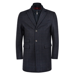 Magee 1866 Blue & Navy Doonalt Checked Cashmere Blend Coat