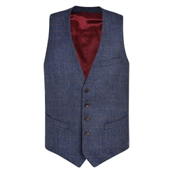 Blue & Rust Checked Double Breasted Donegal Tweed 3-Piece Tailored Fit Suit