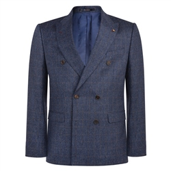 Magee 1866 Blue & Rust Checked Double Breasted Donegal Tweed 3-Piece Tailored Fit Suit