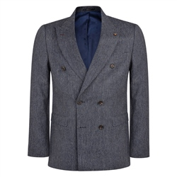 Magee 1866 Grey & Navy Double Breasted Donegal Tweed 3-Piece Tailored Fit Suit