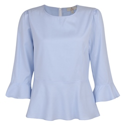 Magee 1866 Blue & White Anne Geometric 3/4 Length Sleeve Top