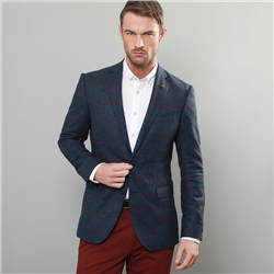 Magee 1866 Blue & Raspberry Windowpane Check Tailored Fit Jacket