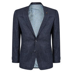 Magee 1866 Blue Herringbone Donegal Tweed Classic Fit Jacket