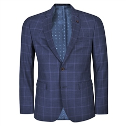Blue Houndstooth 3-Piece Tailored Fit Suit & Contrast Waistcoat