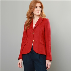 Magee 1866 Red Lily Herringbone Linen & Cashmere Blend Blazer