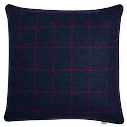"Magee 1866 18"" Navy & Raspberry Windowpane Check Donegal Tweed Cushion"