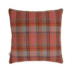"Magee 1866 18"" Orange, Green & Lilac Overcheck Donegal Tweed Cushion"
