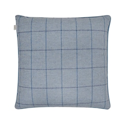 "Magee 1866 18"" Sky Blue & Navy Windowpane Check Donegal Tweed Cushion"