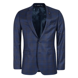 Navy, Blue & Grey Checked 3-Piece Tailored Fit Suit
