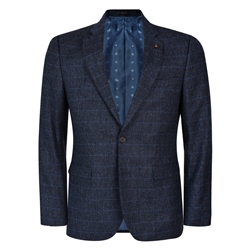 Magee 1866 Navy-Blue Check Salt & Pepper Donegal Tweed 3-Piece Tailored Fit Suit