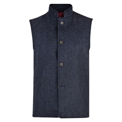 Magee 1866 Blue Herringbone Donegal Tweed Gilet