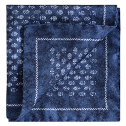 Magee 1866 Blue Flower Print Silk Pocket Square