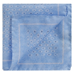 Magee 1866 Pale Blue Flower Print Silk Pocket Square