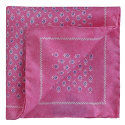 Magee 1866 Pink Flower Print Silk Pocket Square