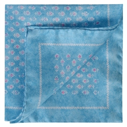 Magee 1866 Aqua Flower Print Silk Pocket Square