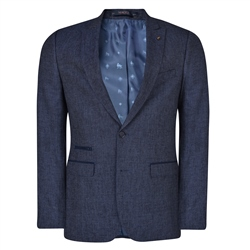 Magee 1866 Navy Geometric Trend Tailored Fit Blazer