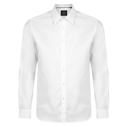 Magee 1866 White Altahan Jacquard Tailored Fit Shirt