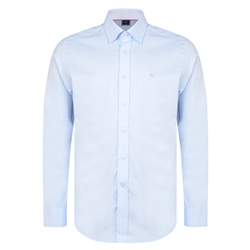 Magee 1866 Blue & White Balbane Gridcheck Concealed Button Down Classic Fit Shirt