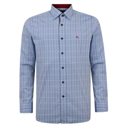 Magee 1866 Blue Balbane Checked Concealed Button Down Classic Fit Shirt
