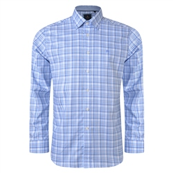 Magee 1866 Blue & White Balbane Checked Concealed Button Down Classic Fit Shirt