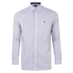Magee 1866 White, Navy & Brown Balbane Striped Concealed Button Down Classic Fit Shirt