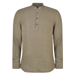 Magee 1866 Khaki Corlea Washed Irish Linen Grandfather Classic Fit Shirt